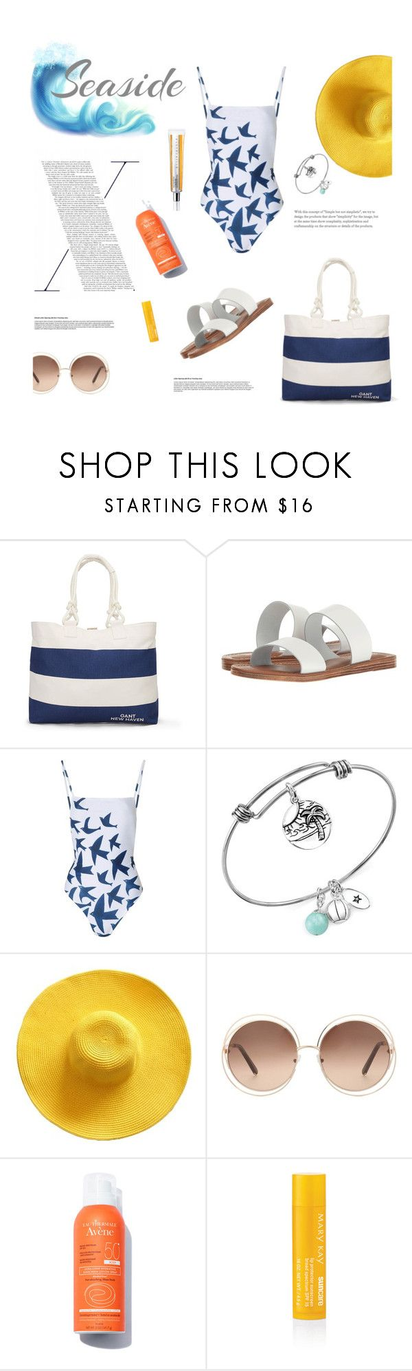 """beach day"" by gabrielleleroy ❤ liked on Polyvore featuring GANT, Bella-Vita, Mara Hoffman, Unwritten, Chloé, Mary Kay and Chantecaille"