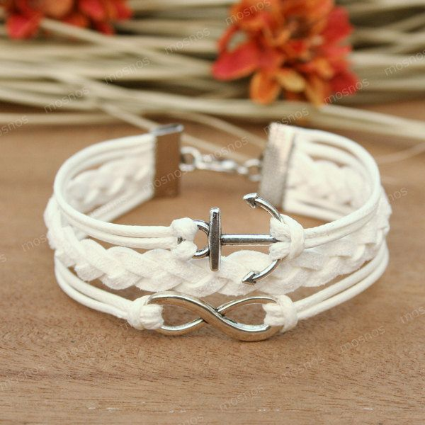 Infinity bracelet - white anchor bracelet, bracelet for girlfriend, BFF