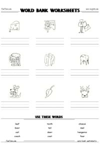 Free word bank worksheet maker, writing and spelling