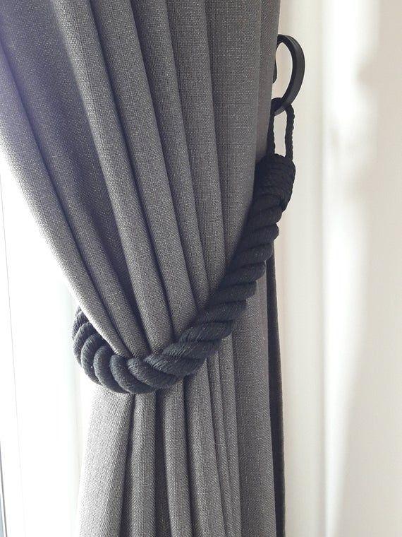 Chunky Black Curtain Tie Backs Nautical Decor Black Cotton Rope