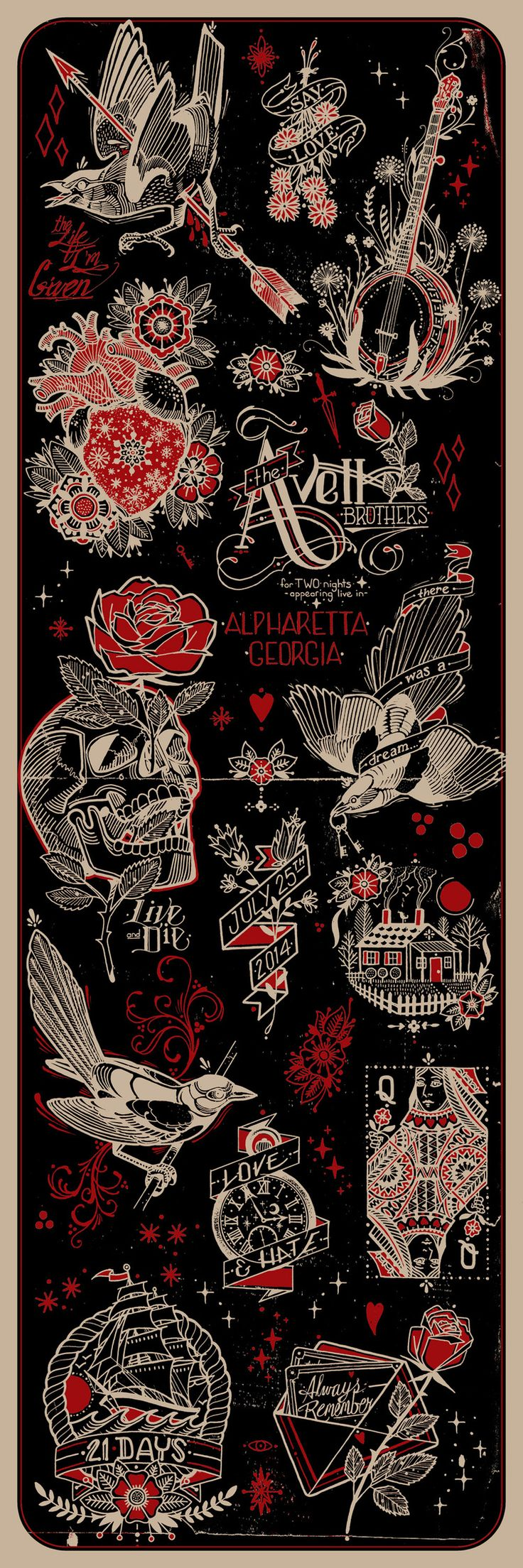 Avett Brothers gig poster by David Hale