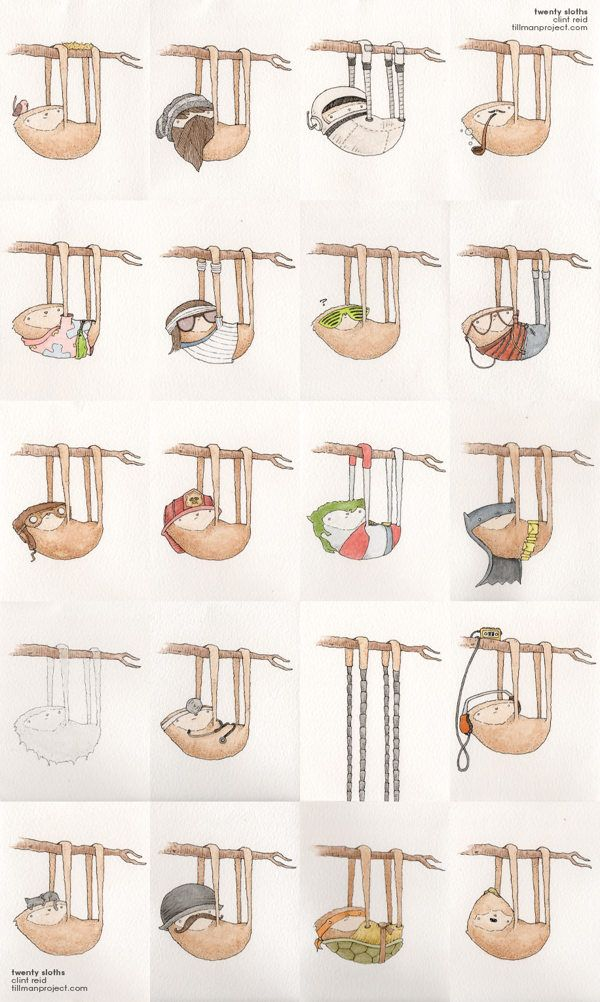 Twenty Sloths by Clint Reid, via Behance