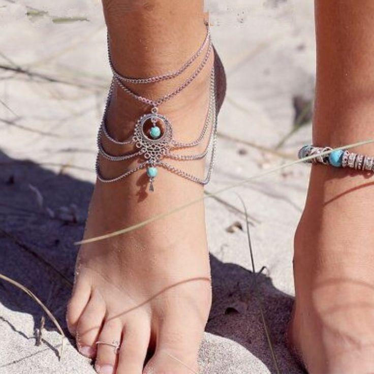 1 пара нескольких босиком сандалии жаркие летние сплав серебра лодыжке браслет чешские ног ювелирные изделия бирюзовые браслеты для женщин