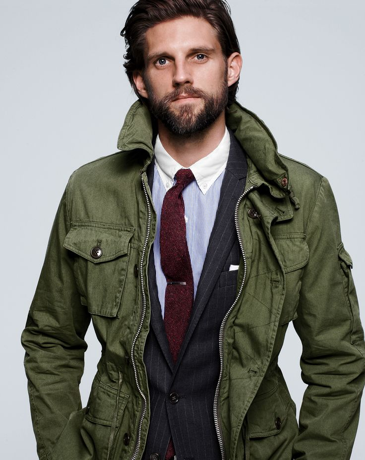 AUG '14 Style Guide: J.Crew men's field mechanic jacket and slim secret wash white-collar shirt in banker stripe.