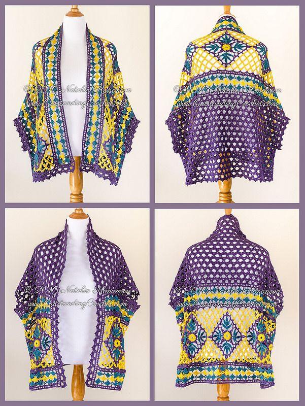New crochet pattern - Open Front crochet Motif Cardigan Shrug - 2 Ways to Wear - Boho chic - Festival - Gypsy Style.