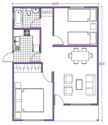 Plano de casa de 48m2 departamentos pinterest house for Como crear un plano de una casa