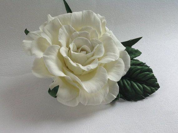 Clip-brooch of foamiran White rose от SaliniShopHobby на Etsy