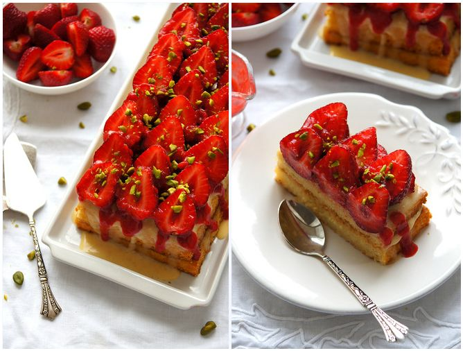 strawberry cake- hoping the strawberries in my garden ripen soon!