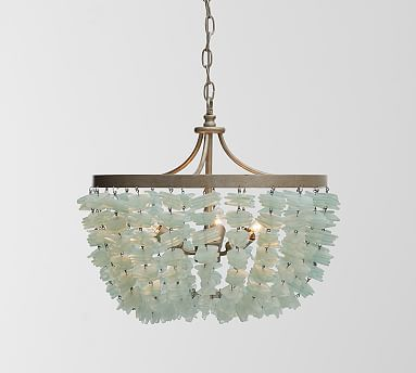 Such a pretty, beachy fixture with its frosty aqua sea glass. Enya Sea Glass Chandelier. Pottery Barn - $699