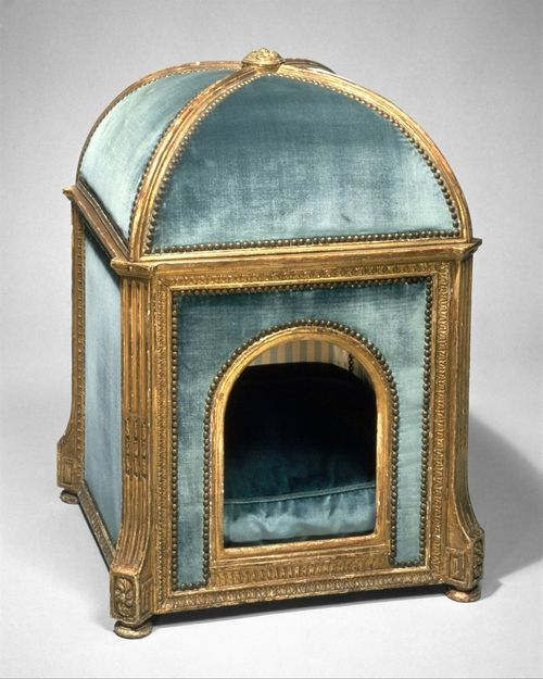 A dog house that may have been used for Marie Antoinette's pooches! ca. 1775 Signature: G. SENE (stamped on the underside of the back rail in the center)  Marks: A cipher formed by the letters M and A beneath a closed royal crown all within a circle of words reading GARDE MEUBLE DE LA REINE (branded). Mark of the Garde Meuble de la Reine Marie-Antoinette.