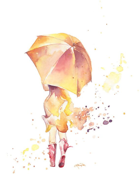 "Watercolor ""Red Wellies', girl in a spring yellow and tangerine dress with an umbrella walking in the rain by Katrina Pete.  #watercolor #wellingtons #red umbrella"