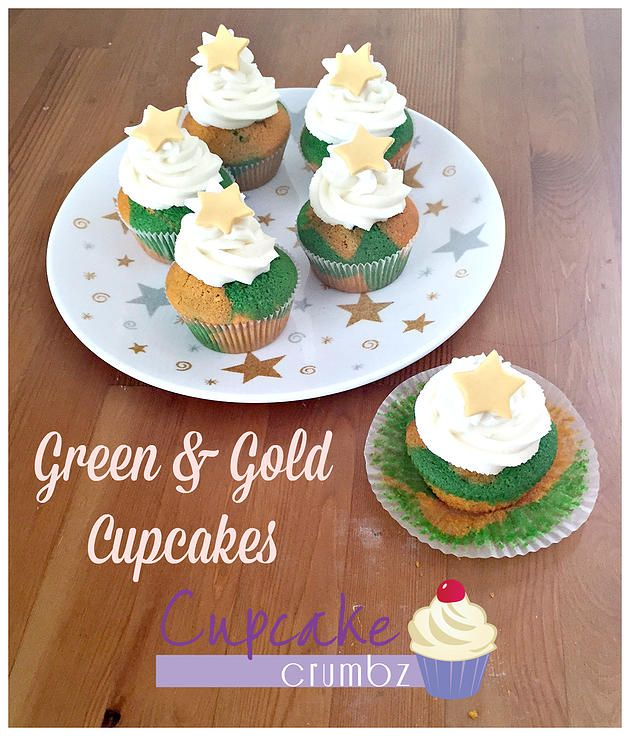 Cupcake Crumbz - Adelaide Hills Cakes and Cupcakes | Green & Gold Cupcakes