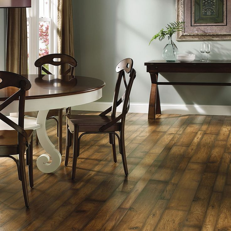Floor Features Variable Width Vinyl Planks For A Rustic Appearance The Is Comfortable Underfoot And Fashionable Enough Dining Room