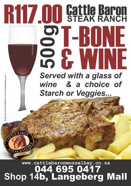 Welcome to the start of another long weekend. Cattle Baron will be serving our usual fantastic specials, and what better than a succulent T-Bone steak to getting that weekend feeling. #steakhouse #cuisine #ilovemymeat