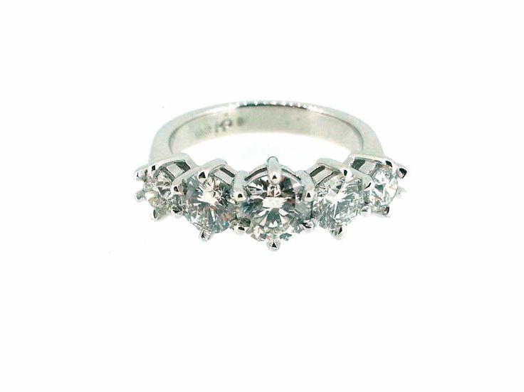 White Gold 5 Stone Engagement Ring
