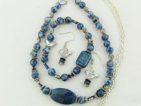Lapis Lazuli and Silver Bead Jewellery Set Necklace