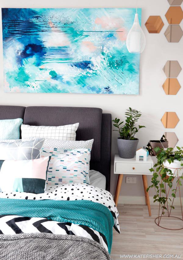Bedroom Art: Contemporary modern bedroom styling in grey, white and turquoise blue with adairs bedding and scandi accessories. Original contemporary abstract art above the bed by Australian artist Kate Fisher. Ikea mirrors.