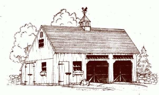 Illustration of Post and Beam One & A Half-Story Saltbox Carriage House