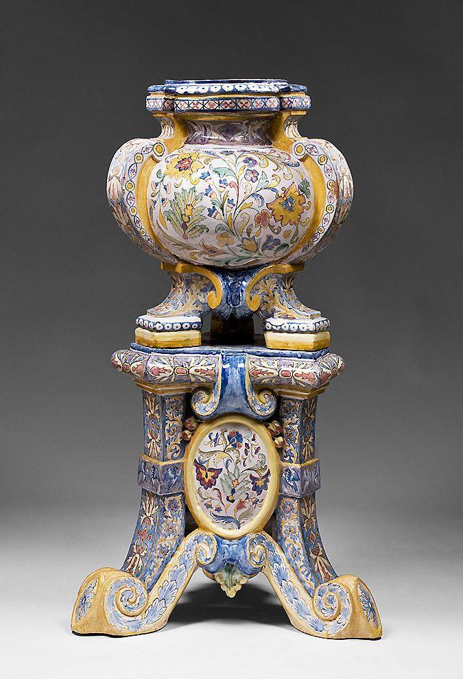 Ceramiche La Mastro Giorgio Majolica Jardiniere And Stand from piatik on Ruby Lane