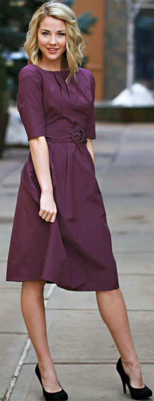 """Jackie"" modest belted dress with half-sleeves and pockets, in plum, from JenClothing; available up to 2XL // I would wear this in a heartbeat, and their clothing is so affordable!"