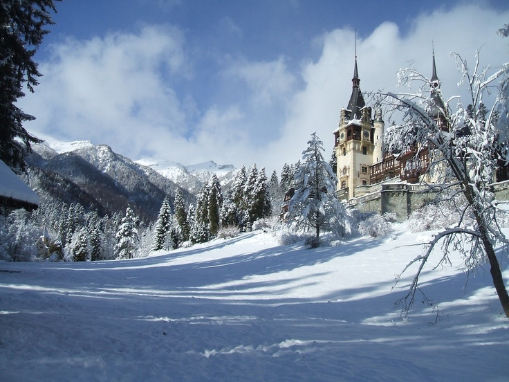 1024x768 romania peles castle winter wallpaper download