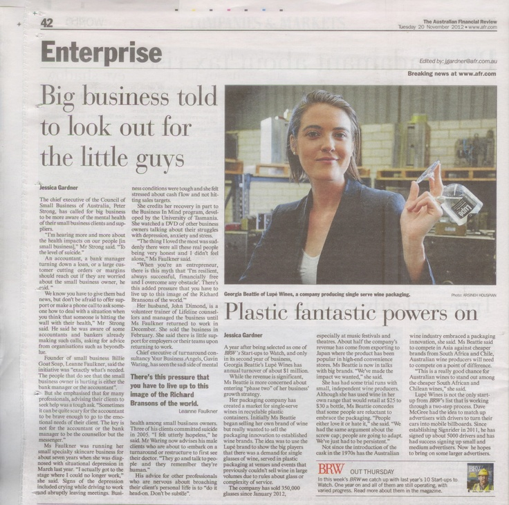 """Lupé Wines has been featured in the Australian Financial Review this morning. Founder Georgia Beattie talks about the Lupé two phase growth strategy since being listed as one of BRW's Start-Ups to Watch. Georgia is very passionate about the Australian wine industry staying competitive in the international wine market """"This is a really good chance for Australian wines to stand out among the cheaper South African and Chilean wines""""."""