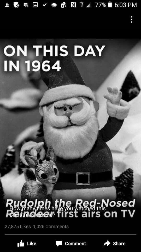 "November 1, 1964 one of the all time most beloved Christmas shows in history first aired. ""Jingle Jingle Jingle, I can hear the sleigh bells ring!"" ❤️"