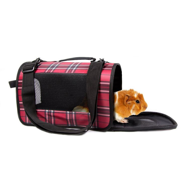 Carry your small furry friend with style in this fashionable pet carrier. Designed for comfort with vents to provide air flow for your ferret, rabbit, guinea pig, or other small animal.