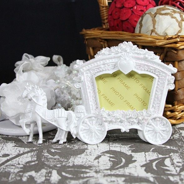 white cinderella fairytale carriage place card photo frame wedding favor