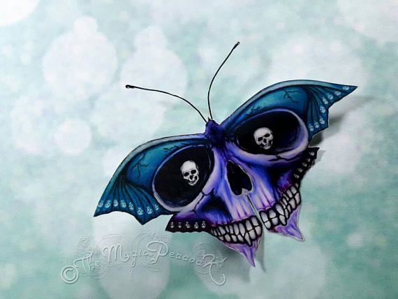 Gothic Moth Skull Bat Butterfly with small skull eyes.