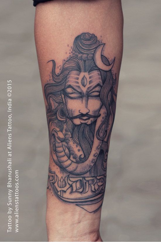 Illustrative Lord Shiva Tattoo by Sunny Bhanushali at Aliens Tattoo, Mumbai. Client is illustrator, very creative and humble person. He sketched this artwork in his own style. He wanted the same exact replica of what he created. He dedicated this amazing lord shiva tattoo to his daughter. He cam couple of times for consultation just to make sure that he gets the replica of original design as a tattoo without any changes/addition by tattoo artist. I worked on it with all patience and he…