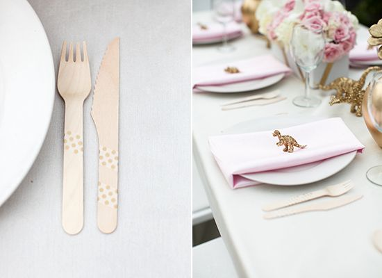Modern baby shower place settings