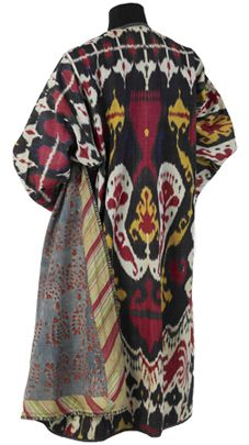 19th Century Central Asian ikat made into a heavy robe--From the Colors of the Oasis exhibition