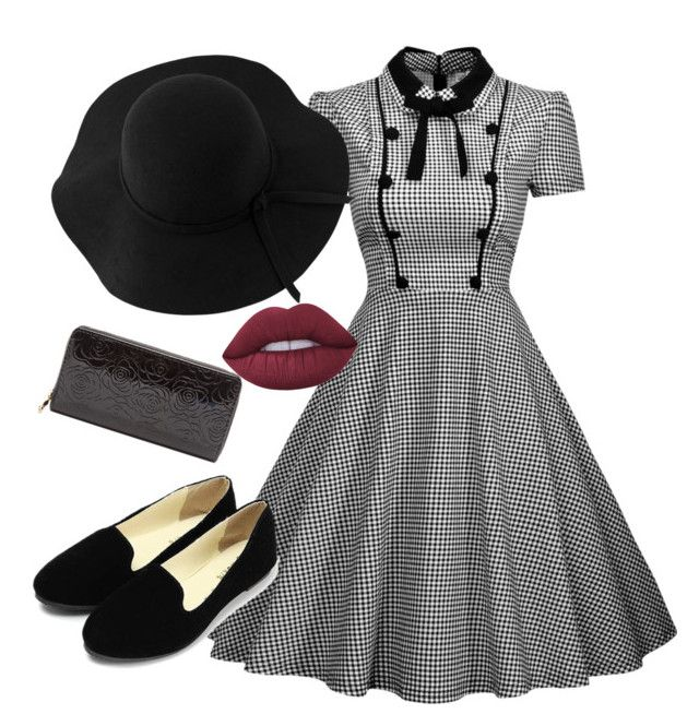 """""""Black & White Vintage"""" by veerarosita on Polyvore featuring Lime Crime, Sans Souci, vintage, Summer, cute, dress and blackandwhite"""
