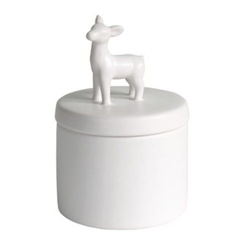 $16.90 George & Co. - Deer Canister - White - The Furniture Store