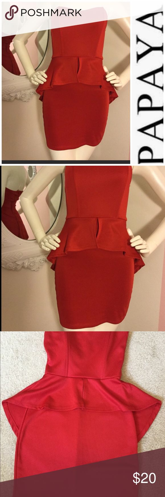 Gorgeous red peplum dress. Cute strapless dress  Red spandex  Excellent condition! Papaya Dresses Strapless