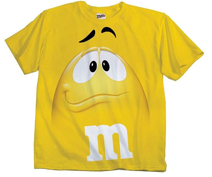 M&M's Candy Yellow Silly Character Face Adult T-Shirt (Adult Medium)