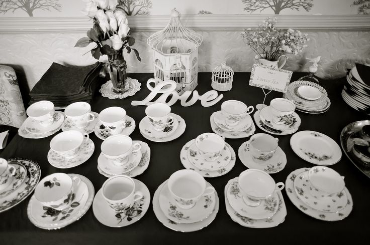Tea set collection in our vintage wedding.
