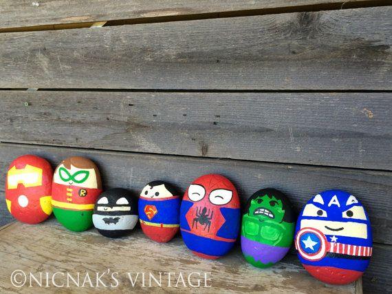 Set of  7 Hand Painted Superhero Rocks  4 8 tall by NicNaksVINTAGE, $55.00
