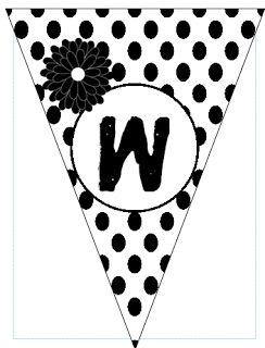 "Fun For First: Free ""Welcome"" Banner Printable Black & White Polka Dot theme"