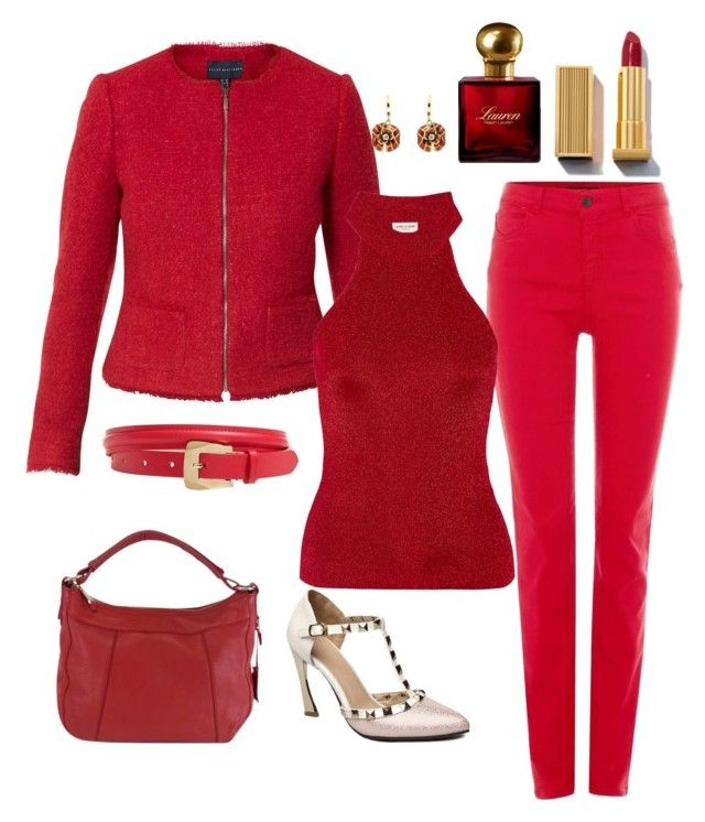 """""""Lady in red"""" by wardrobepieces on Polyvore featuring Armani Jeans, Helen McAlinden, Cole Haan, Yves Saint Laurent, Talbots, Ralph Lauren and Misis"""