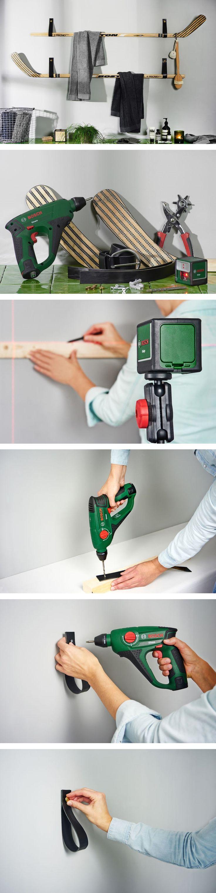 Do-it-Yourself Handtuchhalter aus Hockeyschläger #DIY #Handtuchhalter #Hockeyschläger #Bosch #Selbermachen #Basteln #Handwerken #Galaxus