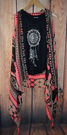 NEON AZTEC KIMONO VEST Fringe Cowgirl Boho Gypsy Festival Scarf #Unbranded #vest