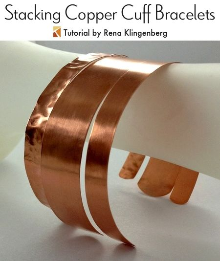 Stacking Copper Bracelets - tutorial by Rena Klingenberg