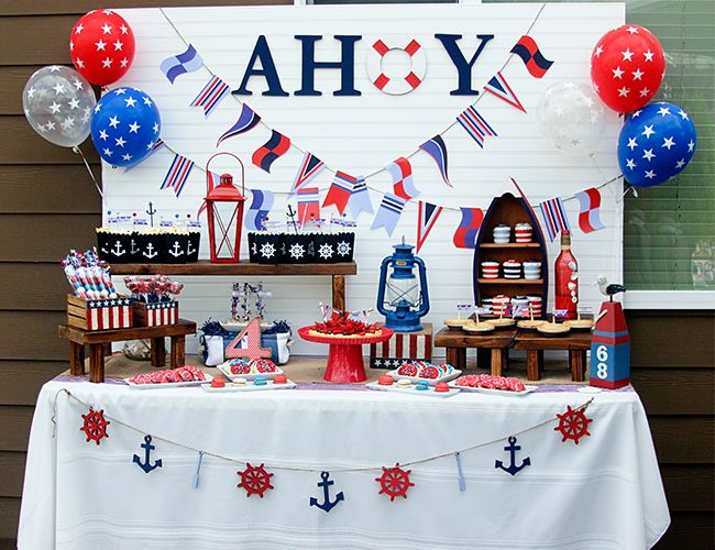 """Nautical """"From Sea to Shining Sea"""" themed 4th of July party // dessert bar + flags + balloons + sign"""