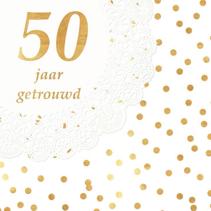 Kaart 50 jarige bruiloft van mijn ouders. Goud, gold, confetti, doily, wedding