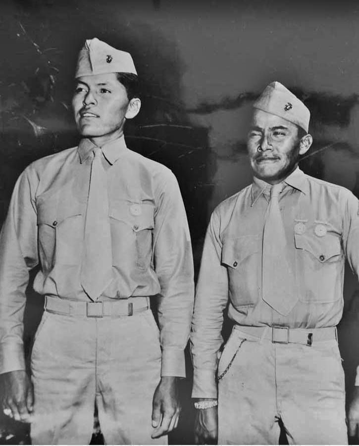 PFC Alec E. Nez and PFC William D. Yazzie with the 1st Marine Division