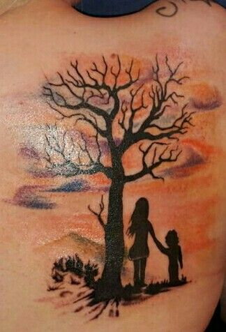 Watercolor tattoo tree children