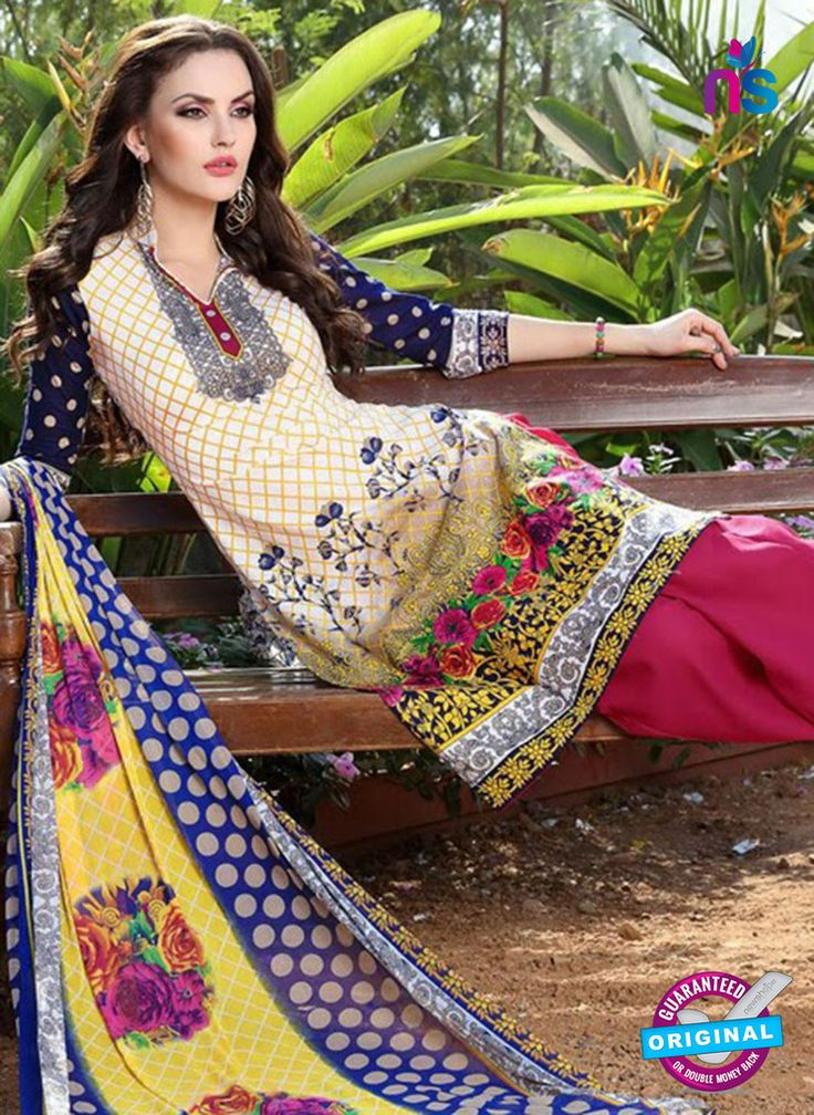 SC 12965 Yellow, Blue and Pink Printed Pure Cotton Wear Salwar Suit