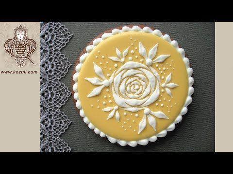 VIDEO TUTORIAL @kozuli_com  / Wedding Cookies / Rose cookies / Flower cookies / Gingerbread flowers / Icing cookies / Royal icing cookies / Decorated cookies / Cookie decorating / Cookie decorating ideas / Sugar cookies / Sugar cookie icing / Icing rose /  Royal icing rose / More video tutorials at www.kozuli.com